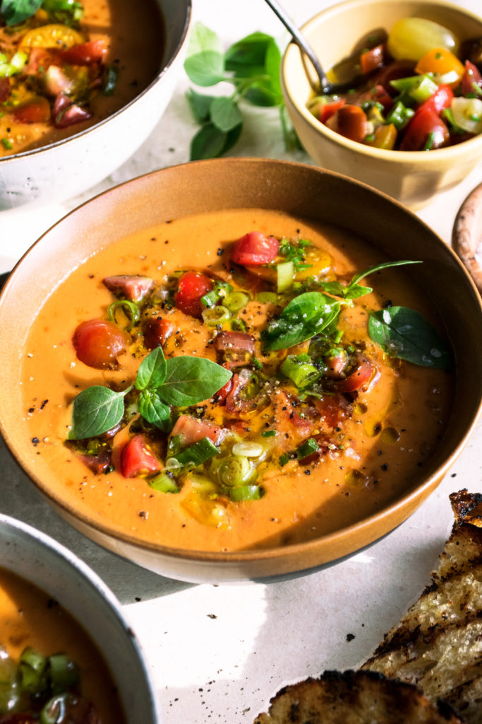 Heirloom Tomato Gazpacho with Grilled Bread