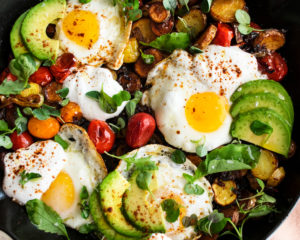 Mexican Potato Hash with Fried Eggs