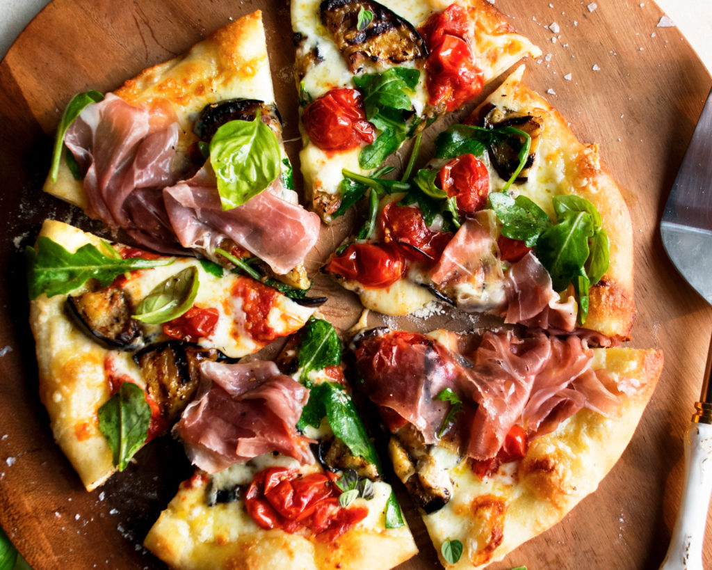 Grilled Pizza with Eggplant & Prosciutto