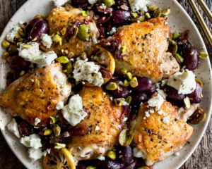Pan-Roasted Chicken with Grapes & Olives