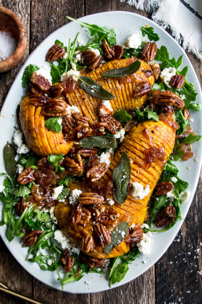 Roasted Hasselback Butternut Squash Salad