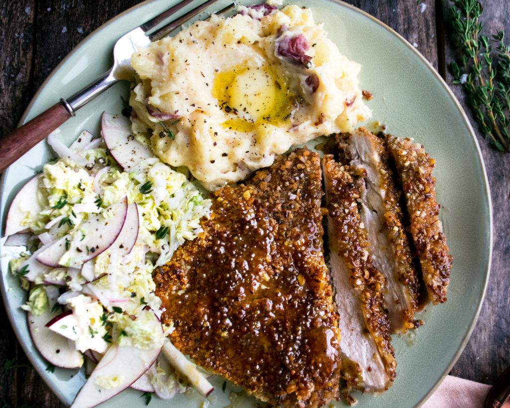Maple Pecan Crusted Pork Chops