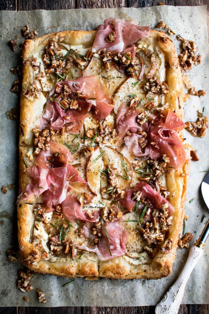 Pear & Prosciutto Ricotta Tart