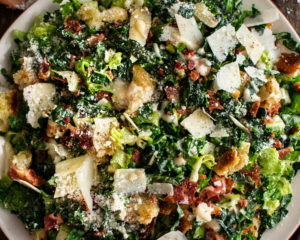 Roasted Garlic & Kale Caesar Salad