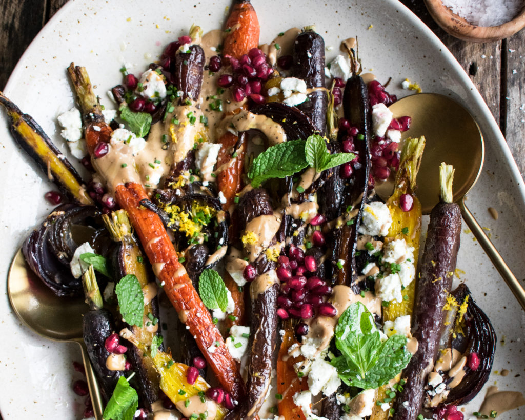 Roasted Carrots with Tahini Pomegranate Sauce