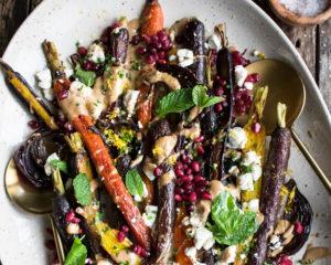 Roasted Carrots with Tahini Pomegranate Sauce