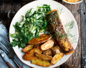 Seared Salmon with Roasted Potatoes