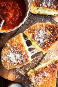 Garlicky Fried Mozzarella Sandwich
