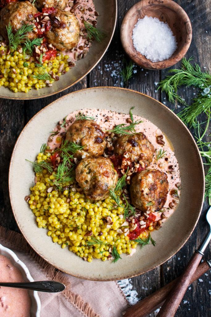 Harissa Baked Chicken Meatballs