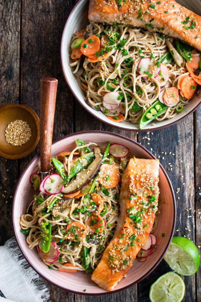 Soba Noodle Salad with Salmon
