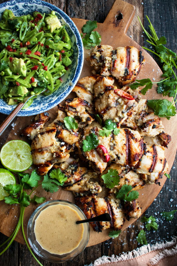 Grilled Coconut Chicken with Snap Pea Salad