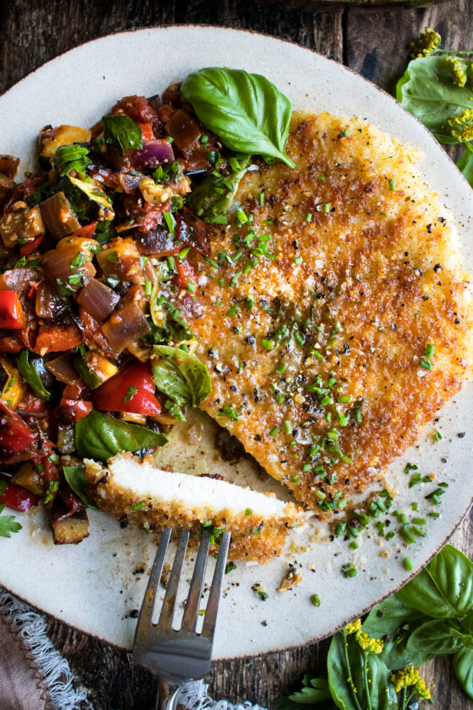 Parmesan Crusted Chicken with Ratatouille