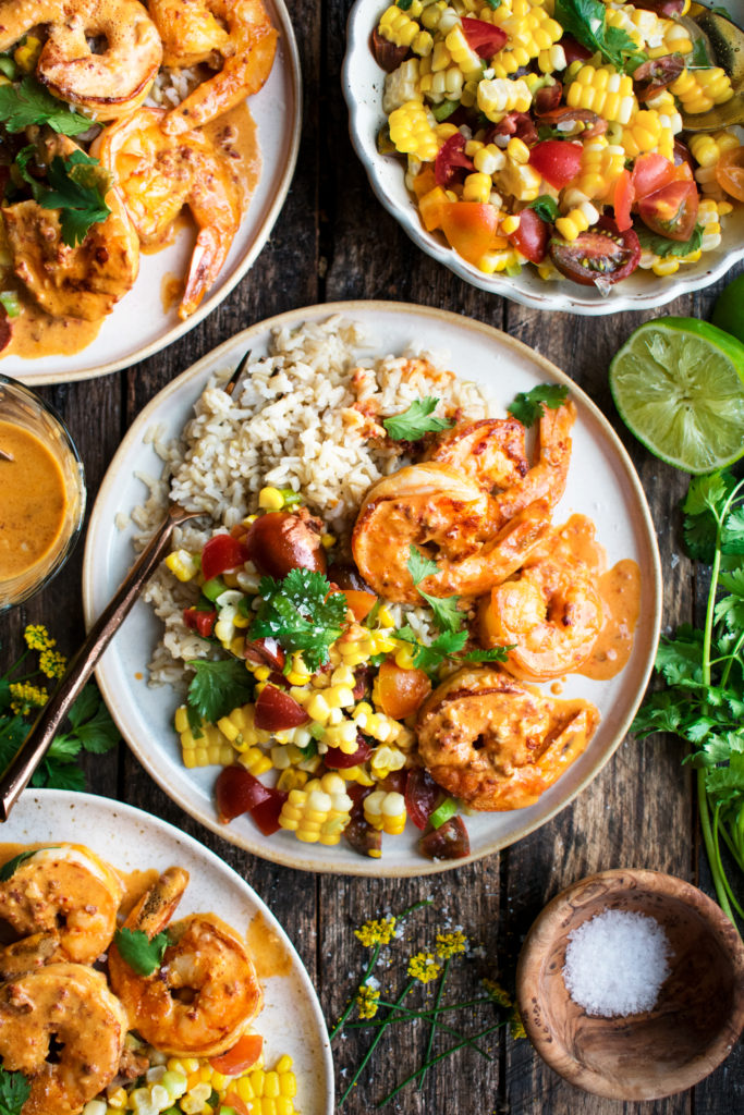 Skillet Shrimp with Creamy Chipotle Sauce