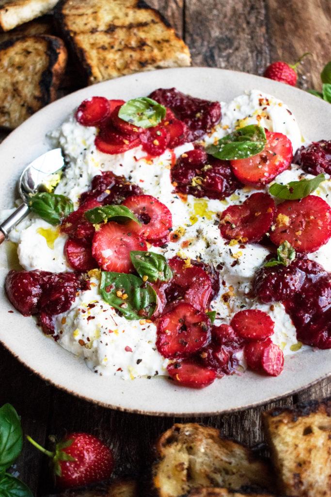Burrata with Balsamic Strawberries & Basil