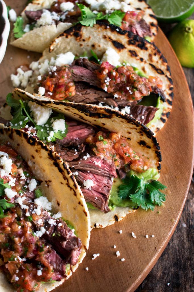 Skirt Steak Tacos with Charred Tomato Salsa