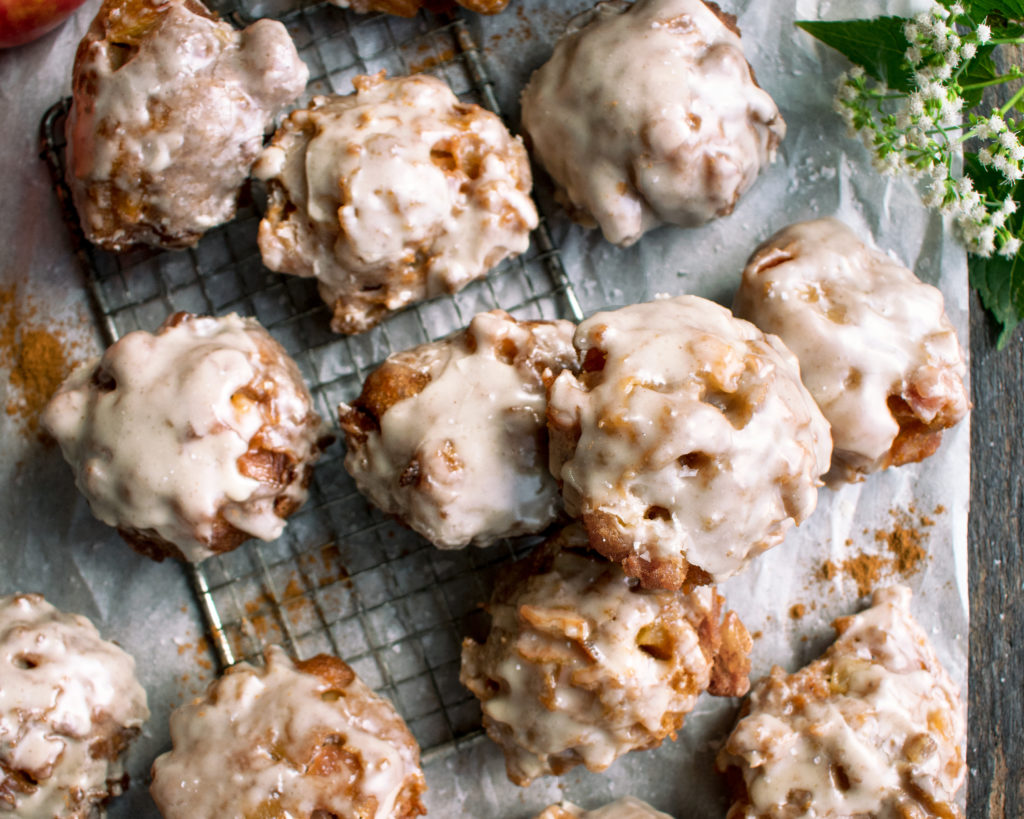 Apple Fritters with Salted Maple Glaze